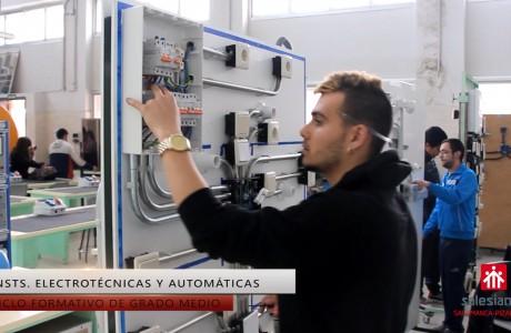 """<p style=""""text-align: justify;"""">Con estos estudios se adquiere el nivel necesario para montar, explotar y mantener líneas e instalaciones de distribución de energia eléctrica a media tensión (MT), baja tensión (BT) y centros de transformación (CT), instalaciones singulares y de automatización de edificios. Tambien se realiza el montaje de equipos electrotécnicos de distribución de energía eléctrica y de protección y control de máquinas eléctricas, y se hace el mantenimiento preventivo y correctivo de las instalaciones de su ámbito.</p> <a href=""""https://www.salesianospizarrales.com/instalaciones-electricas-y-automaticas"""" target=""""_blank"""" rel=""""noopener noreferrer"""">[Más información aquí]</a>"""